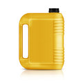 Plastic gallon yellow jerry can isolated on a white background with clipping work path Stock Photos