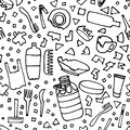 Plastic garbage seamless pattern black outline isolated on white background. The problems with chemical wastes disposal. The