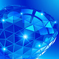 Plastic grain fond with blue 3d geometric object