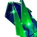Plastic grain fond, emerald 3d geometric template