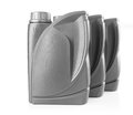 Plastic gray canister for engine oil Royalty Free Stock Photo