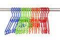 Plastic hangers in row Stock Images