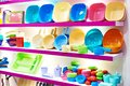 Plastic kitchenware in store Royalty Free Stock Photo