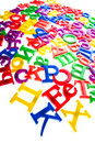 Plastic letters and numbers isolated close up Stock Photography