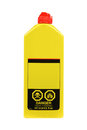 Plastic lighter fluid bottle with danger sign onit on a white background Royalty Free Stock Photo