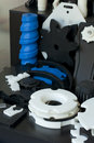 Plastic machine parts. Royalty Free Stock Photo
