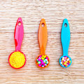 Plastic measuring spoons Stock Images