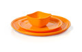 Plastic  microwave bowl and plate Royalty Free Stock Photos