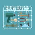 Plastic model kits construction tools house master Stock Photo