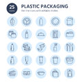 Plastic packaging, disposable tableware line icons. Product container, bottle, packet, canister, plate and cutlery