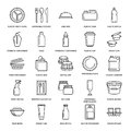 Plastic packaging, disposable tableware line icons. Product packs, container, bottle, packet, canister, plates and