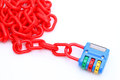 Plastic padlock and chain Royalty Free Stock Photography