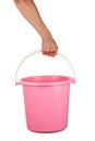 Plastic pail human hand holding empty Stock Image