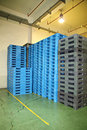 Plastic pallet equipment of in factory Stock Image