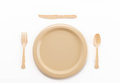 plastic plate spoon fork and knife Royalty Free Stock Photo