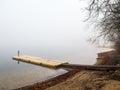 Plastic pontoon in the fog Royalty Free Stock Photo