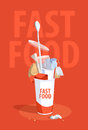 Plastic rubbish from fast food Royalty Free Stock Photo