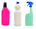 Plastic sanitary bottles isolated set of on white background Royalty Free Stock Photos