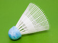 Plastic shuttlecock for badminton on green background Royalty Free Stock Photography