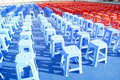 Plastic stools queue Royalty Free Stock Photography