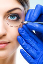 Plastic surgery - Beautiful Woman half face, with marked Royalty Free Stock Photo