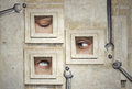 Plastic surgery funny and artistic composition of three human eyes Stock Images