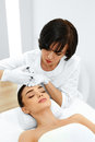 Plastic Surgery. Woman Gets Cosmetic Injection. Cosmetology. Bea Royalty Free Stock Photo