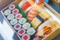 ,Plastic Sushi rolls in a display case Royalty Free Stock Photo