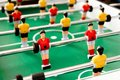 Plastic table football game close up of Royalty Free Stock Images