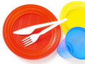 Plastic tableware Royalty Free Stock Image
