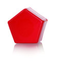 Plastic toy bright red construction isolated on white background Stock Photos