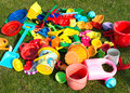 Plastic toys many colorful in the garden Stock Photo