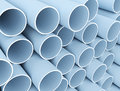 Plastic tubes large stack of blue pvc Stock Photography