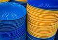 Plastic utensils blue and yellow Stock Photo