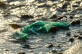 Plastic waste contamination at sea Royalty Free Stock Photo