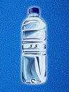 Plastic water bottle with droplets Stock Photo