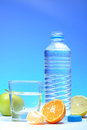 Plastic water bottle and fruits Stock Images