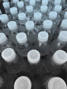 Plastic water bottles close up of in factory production facility Stock Photo