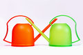 Plastic watering can Stock Images
