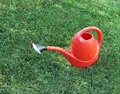 Plastic watering can on grass Royalty Free Stock Photo