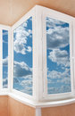 Plastic window with beautiful sky Stock Photography