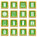 Plastic window forms icons set green