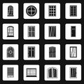 Plastic window forms icons set squares vector