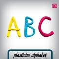 Plasticine alphabet on a background.