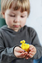 Plasticine came camel in child hand Royalty Free Stock Photography
