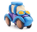 Plasticine car on a white background Royalty Free Stock Photo
