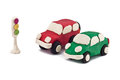 Plasticine cars are at a traffic light Stock Photo