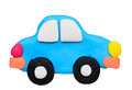 Plasticine clay car on white background Stock Photo