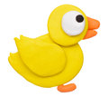 Plasticine clay duck on white background Stock Photos