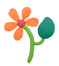 Plasticine clay flower on white background Stock Photography